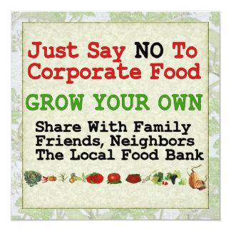 Ninguna comida corporativa invitación 13,3 cm x 13,3cm