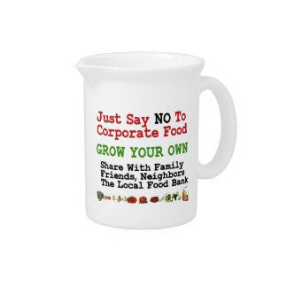 Ninguna comida corporativa jarra para bebida
