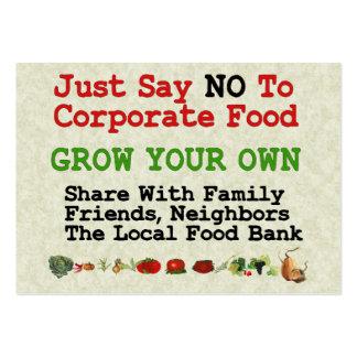 Ninguna comida corporativa tarjetas de visita grandes