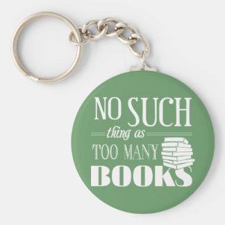 Ninguna cosa tal como demasiados libros llavero redondo tipo pin