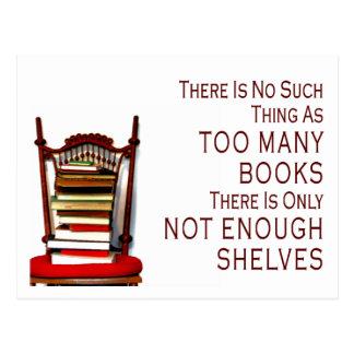 Ninguna cosa tal como demasiados libros tarjeta postal