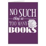 Ninguna cosa tal como demasiados libros tarjetón