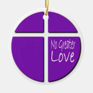 Ninguna fe cristiana del mayor amor con la cruz adorno redondo de cerámica