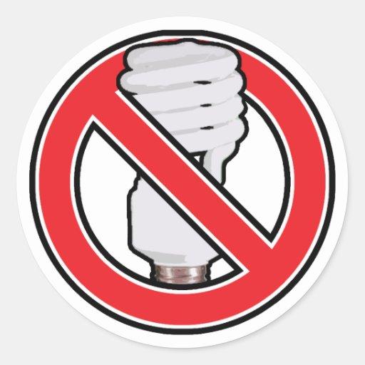 Ninguna iluminación fluorescente etiquetas redondas