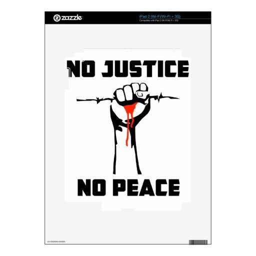 """""""Ninguna justicia, ninguna paz """" Calcomanías Para El iPad 2"""
