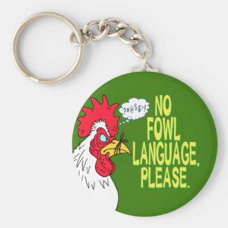 Ninguna lengua de las aves llavero redondo tipo pin