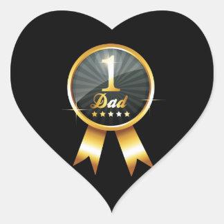 Ninguna medalla de oro de 1 papá pegatina en forma de corazón