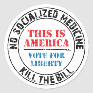 Ninguna medicina socializada etiquetas redondas