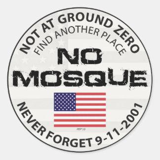 Ninguna mezquita en el punto cero etiqueta redonda