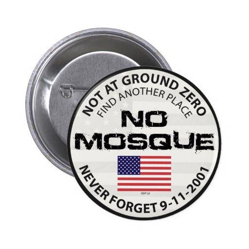 Ninguna mezquita en el punto cero pin redondo de 2 pulgadas