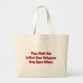 Ninguna mierda religiosa bolsa tela grande