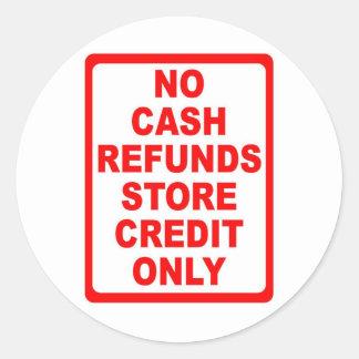 Ninguna muestra de crédito de la tienda de los pegatina redonda