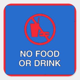 Ninguna muestra de la comida o de la bebida pegatina cuadrada