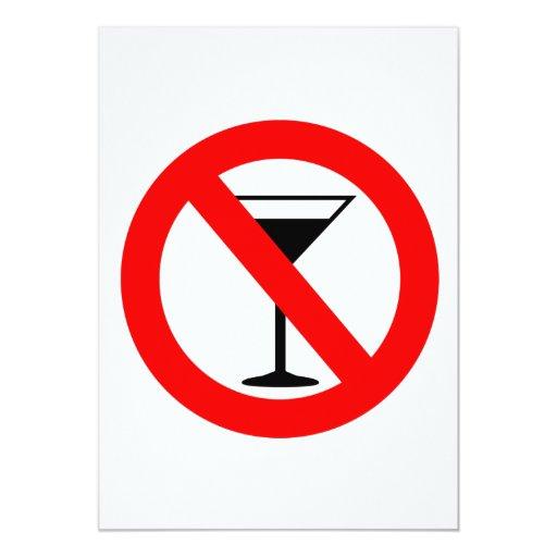"""Ninguna muestra del alcohol invitación 5"""" x 7"""""""