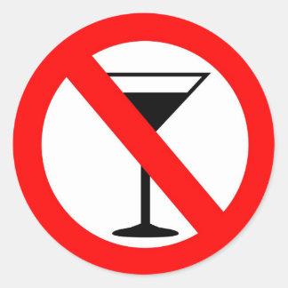Ninguna muestra del alcohol pegatina redonda