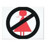 Ninguna mujer invitación 10,8 x 13,9 cm