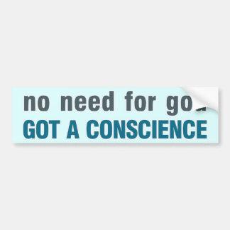Ninguna necesidad de dios conseguida una concienc etiqueta de parachoque