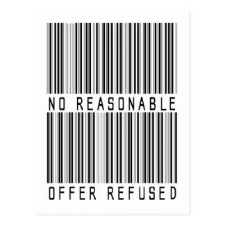 Ninguna oferta razonable rechazó el UPC Tarjetas Postales
