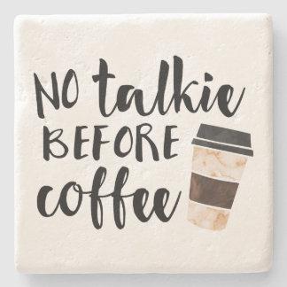 Ninguna película hablada antes del café divertido posavasos de piedra