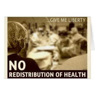 Ninguna redistribución de la salud tarjeta de felicitación