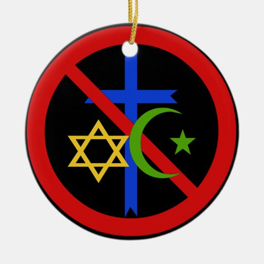 Ninguna religión adorno navideño redondo de cerámica