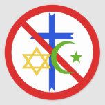 Ninguna religión etiqueta redonda