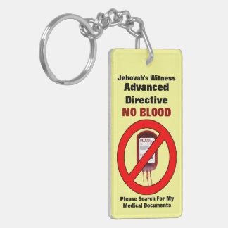 Ninguna sangre - directorio avanzado llavero rectangular acrílico a doble cara
