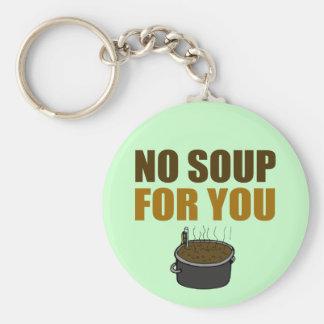 Ninguna sopa para usted llavero redondo tipo pin