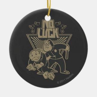 Ninguna suerte adorno navideño redondo de cerámica