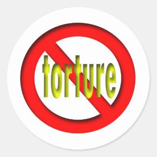 Ninguna tortura pegatina redonda