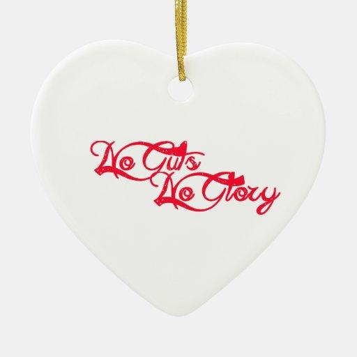 Ninguna tripa, ninguna gloria adorno de cerámica en forma de corazón