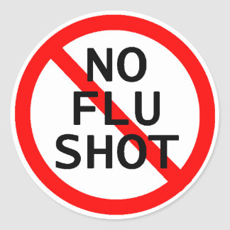 Ninguna vacuna contra la gripe pegatina redonda