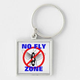 Ninguna zona de mosca llavero cuadrado plateado