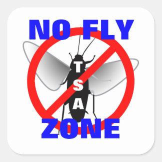 Ninguna zona de mosca pegatina cuadrada