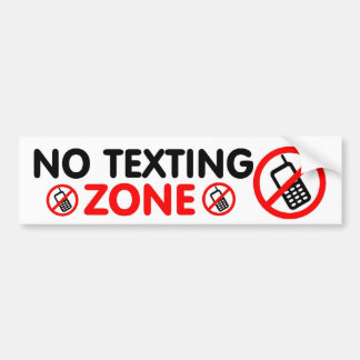 Ninguna zona de Texting Pegatina De Parachoque