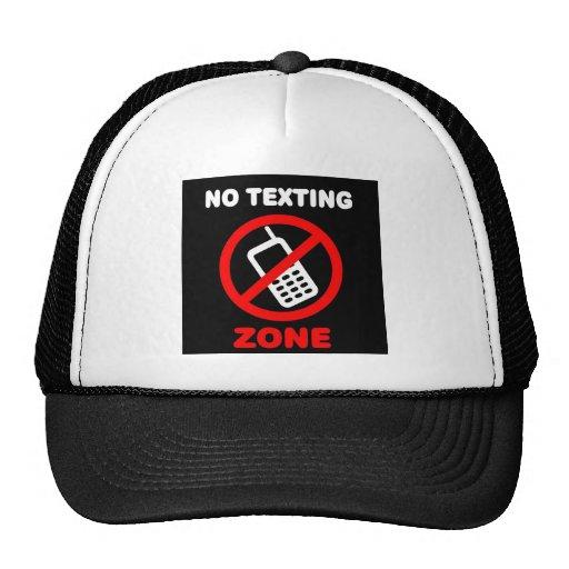 Ninguna zona de Texting Gorras De Camionero