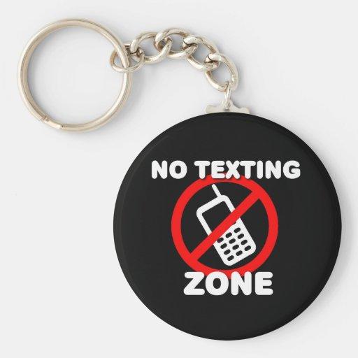 Ninguna zona de Texting Llavero Redondo Tipo Pin