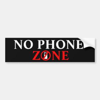 Ninguna zona del teléfono 1 2 pegatina de parachoque