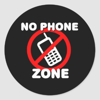Ninguna zona del teléfono etiqueta redonda