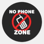 Ninguna zona del teléfono pegatina redonda