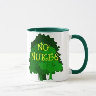 Ningunas armas nucleares con la taza de café verde