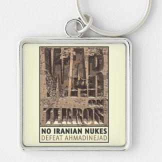 Ningunas armas nucleares del iraní llavero cuadrado plateado