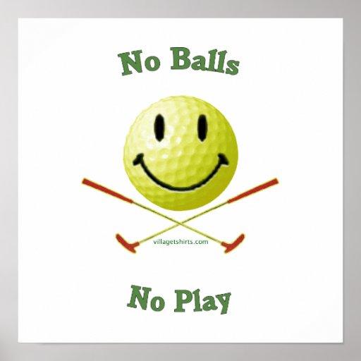 Ningunas bolas ningún smiley del golf del juego posters