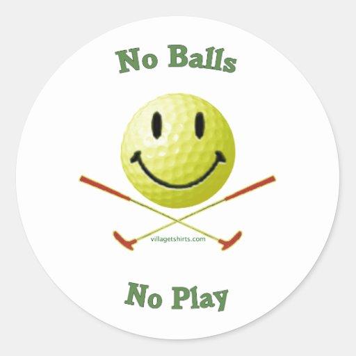 Ningunas bolas ningún smiley del golf del juego pegatina redonda