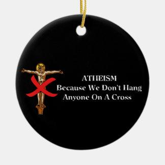Ningunas cruces adorno redondo de cerámica