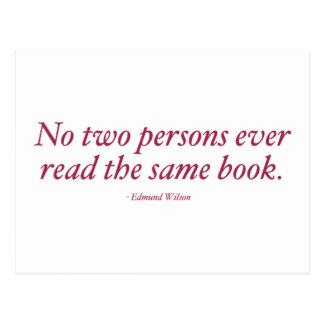 Ningunas dos personas leen nunca el mismo libro postal