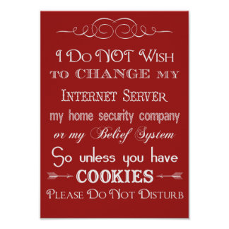 Ningunas galletas, no perturban el poster rojo