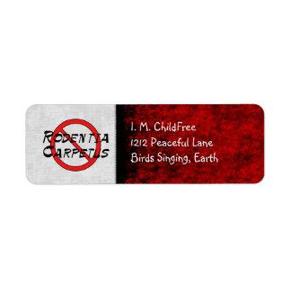 Ningunas ratas de la alfombra etiqueta de remitente