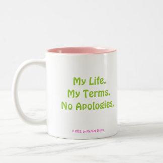 Ningunas tazas de las disculpas por los diseños de