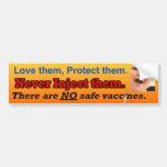 Ningunas vacunas seguras etiqueta de parachoque